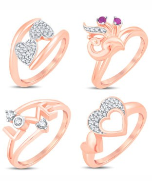 Sukkhi Valentine Collection Modish Rose Gold Plated CZ Combo Ring For Women Pack Of 4