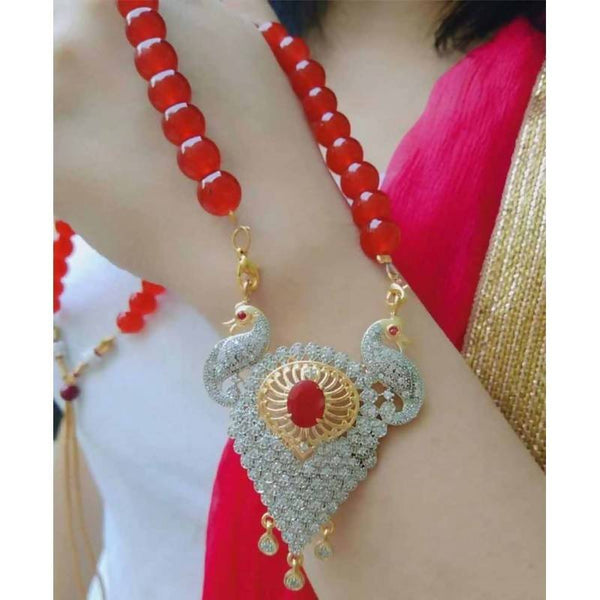 Gold Plated Brass Hand Crafted Work Women's Red Peacock necklace set $ AF788640