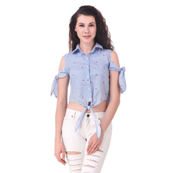 Fame 16 Cut away Sleeves Women's shirt collar Neck Blue Cotton Shirts $ F16-1600207