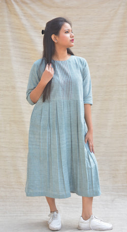 Greyish Blue Box Pleated Khadi Cotton tunic $ IWK-000375