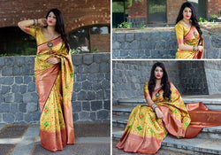 Fashion Zonez Patola weving work Banarasi Patola Silk Yellow Designer Saree With Blouse $ FZ 2729