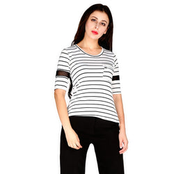 London Rag Womens Stripped Round Neck White Color Top -CL7240
