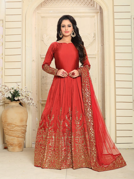 YOYO Fashion Designer Embroidered Tafeta Silk Bridal Anarkali Salwar Suit - F1075-Red