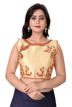 YOYO Fashion Beige Malbari Embriodered Extra Sleeve With Blouse $ YOYO1-BL4009-Orange