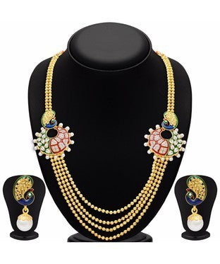 Sukkhi Ravishing Peacock Four Strings Gold Plated Necklace Set