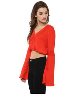 Miway Crepe, Orange Solid Crop Top