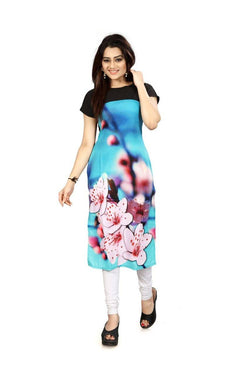 Manvi Fashion Women's Designer Partywear Multi Color American Crepe Fabric Digital Printed Readymade Kurti $ MF 2822