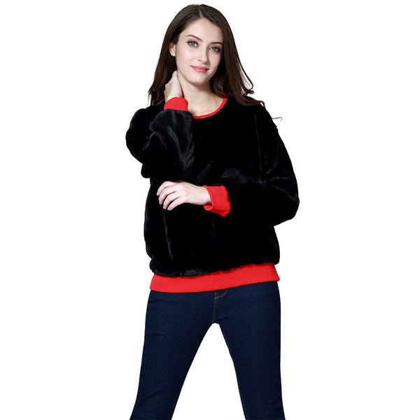 London Rag Soft and Comfortable Fur Burgundy Sweatshirt Black Color-CL7340