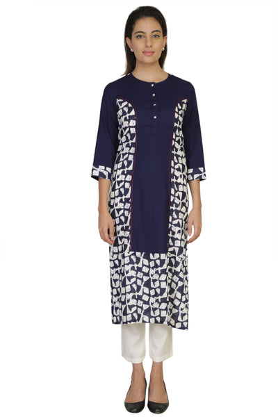 Vaniya Women Cotton Kurta Navy Bluer Printed Kurti $ VN-K135