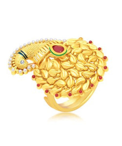 Sukkhi Shimmering Peacock Gold Plated Ring For Women