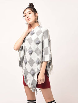 Aiyra White Color wollen pom pom checkered fringed poncho $ AR15800347_free size