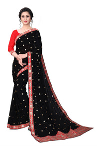 YOYO Fashion Georgette Black Embroidered Saree With Blouse $YOYO-SARI2631