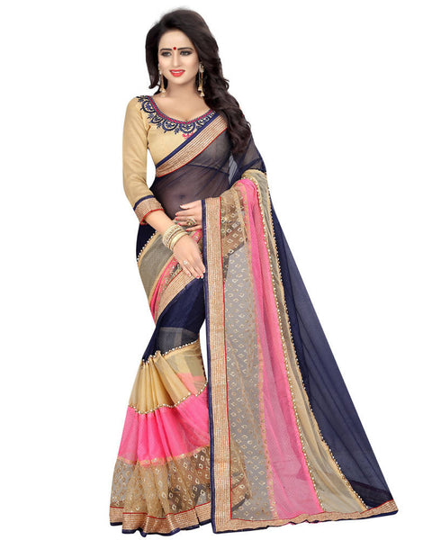 Muta Fashions Women's Unstitched Georgette Navy Blue Saree $ MUTA1558
