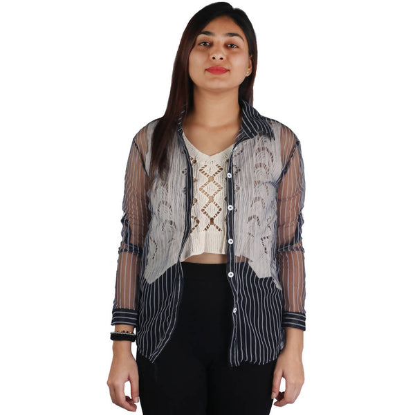 Fashiontiara Fancy Collection Of Net Stripted Button shirt with Woven design cotton knitted Off White crop Tops $ FTS24
