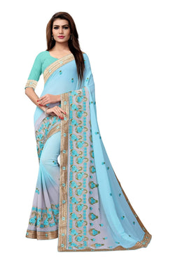 YOYO Fashion Embroidered Georgette Sky Blue Saree With Blouse $SARI2612-Sky Blue