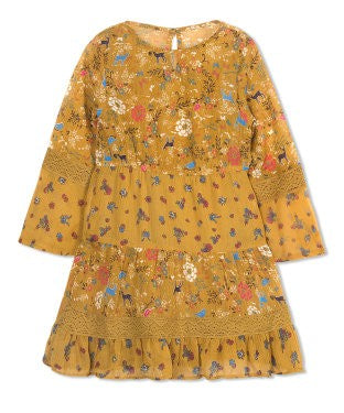 Budding Bees Girls Floral Printed 3/4 Sleeve Dress