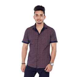 EVOQ Printed Half Sleeved Shirt With Contrasting Collar And Sleeve Band With Smart Spread Collar, Horn Button-The Motive_Red