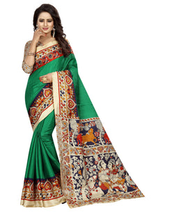 Muta Fashions Women's Unstitched Khadi Silk Green Saree $ MUTA1361