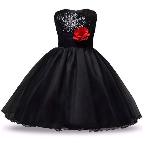 STYLEROBE Kid Girls Sequin Flared Full-Length Ball Gown $ SC01_black