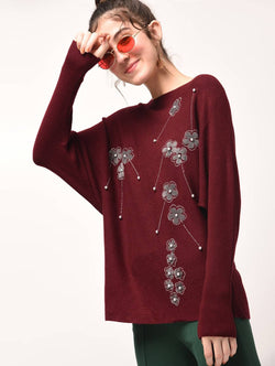 Aiyra Maroon Color Wollen Pearl embellished embroidered top $ AR15801668_Free