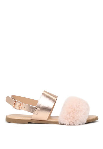London Rag Women's  Rose Gold  Fur Double Strap Slingback Flat Sandals $ SH1572