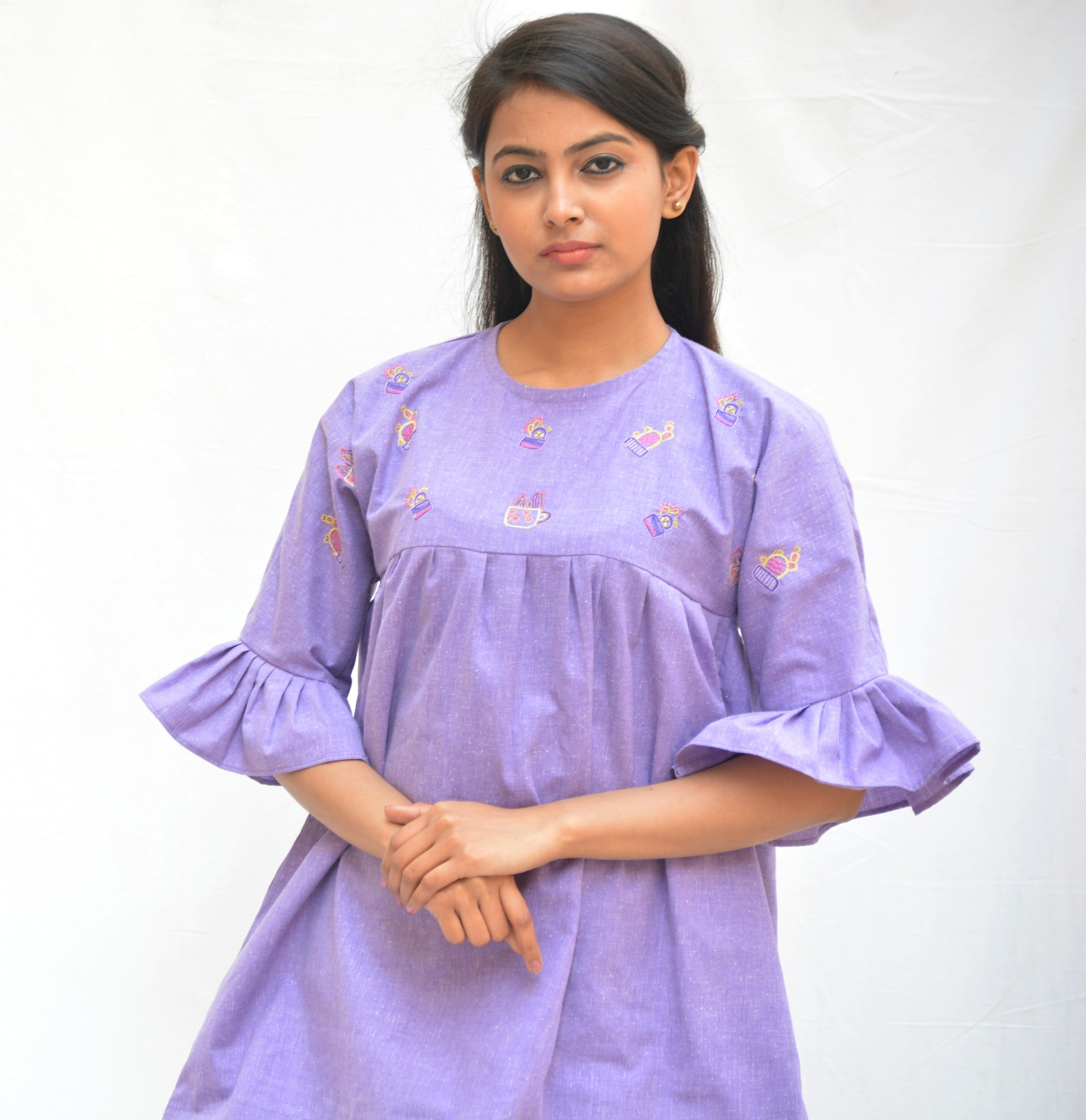 f1d6505af5b ... Mauve Khadi Cotton Cactus Top with Flared sleeves $ IWK-000701 ...
