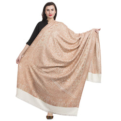 La Vastraa's Full Double Side Jamawar Beige and White Shawl for Women-HKS0197