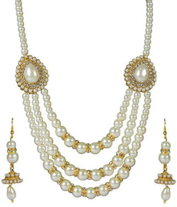 Gold Plated Alloy Metal Hand Crafted Work Women's Three layerd Pearl necklace set $ AF788630