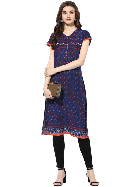 Mytri Women's Blue Rayon Printed Straight Kurta $ 9000489-BLUE