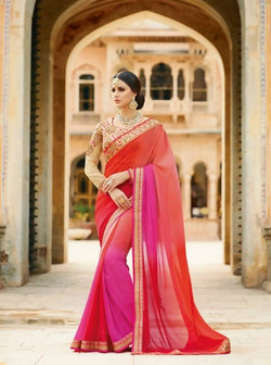 Umang NX Red Georgette Designer Heavy Border Sarees $ UN5835