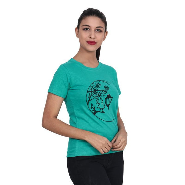 Second Half Green Top with Hanging Lamp Print n Chinese Effect-SH0060