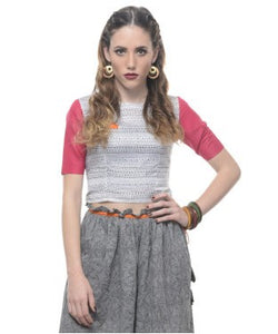 Aastha & Siddhartha White,Black And Pink H/S Crope Top