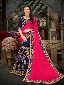 Fashion Zonez Zari Embroidered Georgette Pink Designer Saree With Blouse $FZ 1989