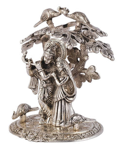 International Gift Silver Plated Radha Krishna Tree God Idol (24 cm, Silver) Exclusive Gift for Diwali Gift Items and Wedding Gift Items $ GSI-134
