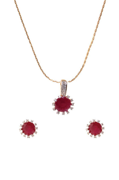 Bauble Burst Ruby Rays Pendant Set