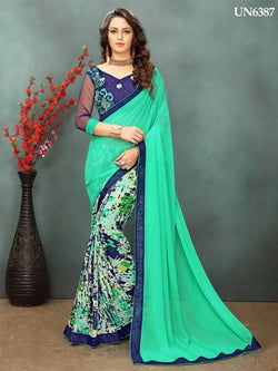 Umang NX Green Designer Printed with Embroidery Sarees $ UN6387
