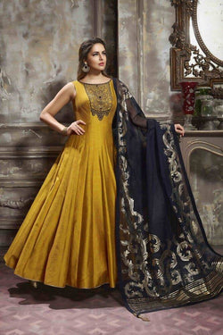Manvi Fashion Women's Banglori Fabric Golden Yellow Color Handworked Gown $ MF 1572