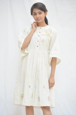 Handspun Khadi Cotton White Pleated Cactus Tunics $ IWK-000666