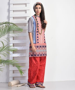 BLUE LOTUS Red Kurti