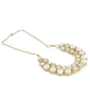 Aradhya Pearl Yellow Gold Plated Alloy Necklace