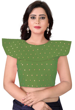 YOYO Fashion Green Malbari Solid Extra Sleeve With Blouse $ YOYO1-BL4003-Green