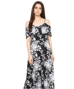 Miway Black Floral maxi Dress