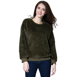 London Rag Soft and Comfortable Fur Green Sweatshirt-CL7340