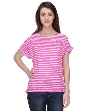 Koton Fuschia And White S/S Top