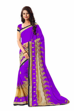 16to60trendz Purple Georgette Embroidery Designer Saree $ SVT00267