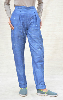 Blue Khadi Cotton Casual Pants $ IWK-000371