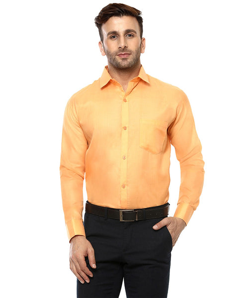 Lee Marc Full Sleeve Lm Pumpkin Orange Formal Shirt