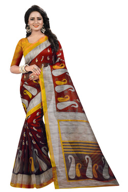 16TO60TRENDZ Red Color Printed Bhagalpuri Silk Saree $ SVT00512