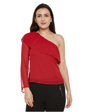 Oxolloxo Red Solid One-shoulder Top