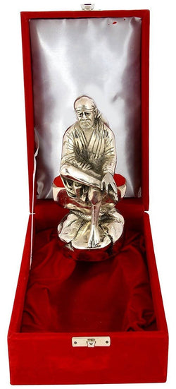 International Gift Silver Plated Sai Baba Oxidized Silver Finish with Beautiful Red Velvet Box $ GSI-105